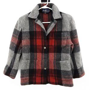 Ralph Lauren 100% Wool Plaid Red & Grey Pea Coat 6